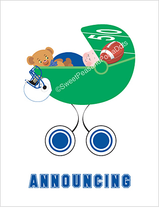 Blue and White Football Photo Birth Announcements