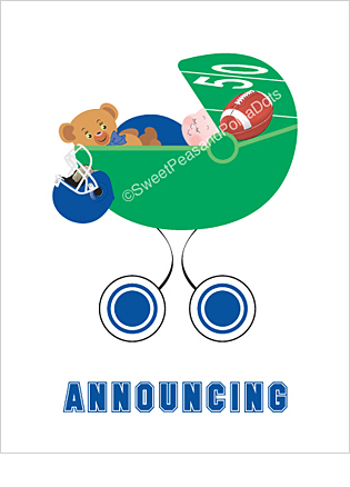Blue Football Custom Birth Announcements