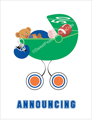 Blue and Orange Football Photo Birth Announcements