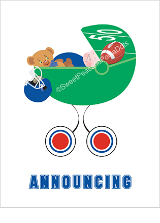 Blue and Red Football Classic Birth Announcements