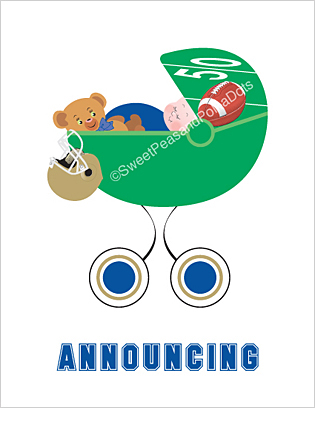 Blue and Gold Football Photo Birth Announcements