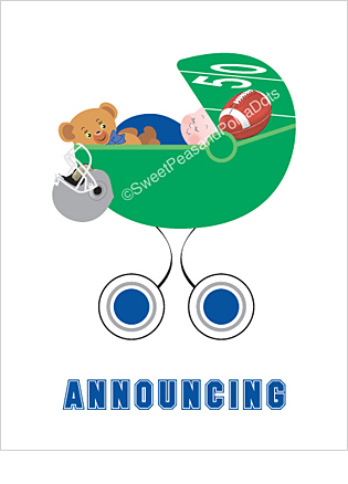 Blue and Silver Football Custom Birth Announcements