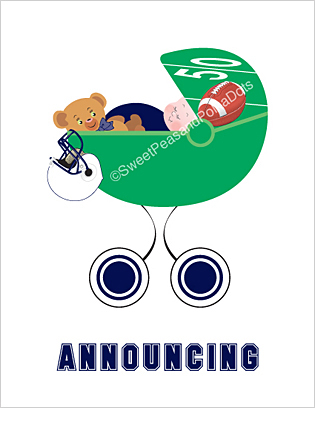 Navy Blue and White Football Classic Birth Announcements