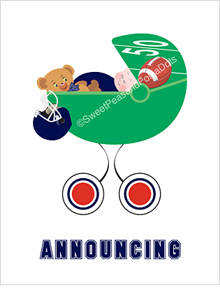 Navy Blue and Red Football Classic Birth Announcements
