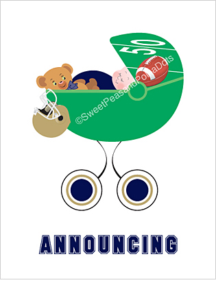 Navy Blue and Gold Football Classic Birth Announcements