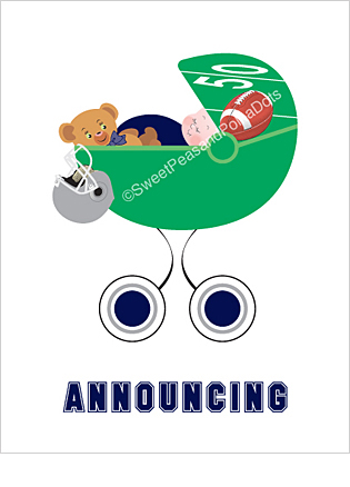 Navy Blue and Silver Football Classic Birth Announcements
