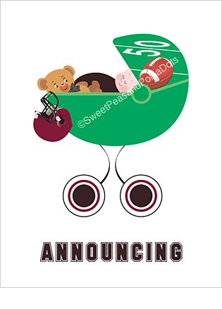 Black and Maroon Red Football Custom Birth Announcements