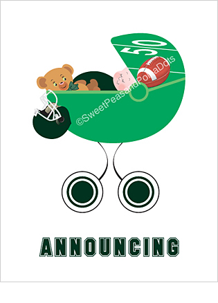 Dark Green Football Classic Birth Announcements