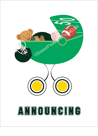 Dark Green and Yellow Football Classic Birth Announcements