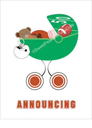 Dark Orange and White Football Classic Birth Announcements