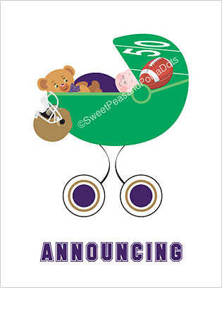 Dark Purple and Gold Football Classic Birth Announcements