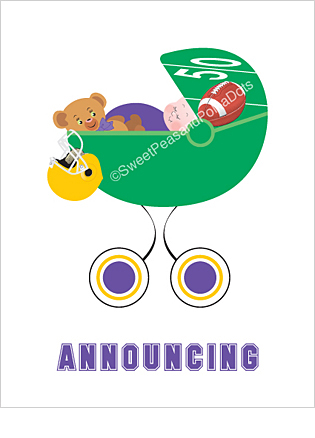 Purple and Gold Football Classic Birth Announcements