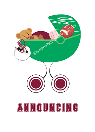 Maroon Red and White Football Custom Birth Announcements