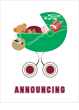 Maroon Red and Gold Football Photo Birth Announcements