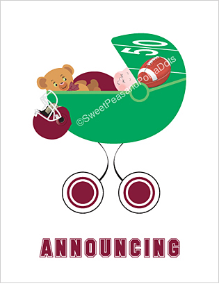 Maroon Red Football Classic Birth Announcements