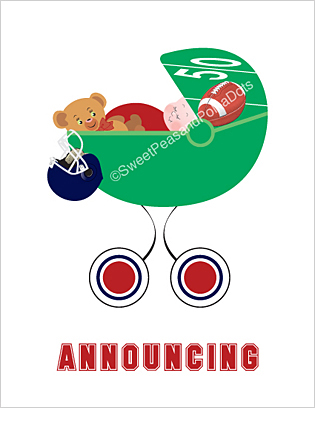 Red and Navy Blue Football Custom Birth Announcements