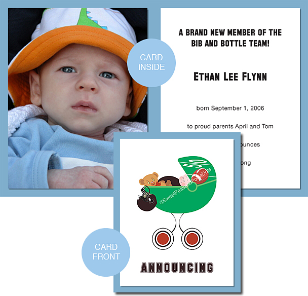 Black and Dark Red Football Photo Birth Announcements