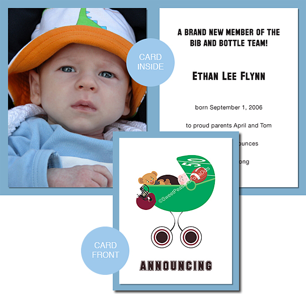 Black and Maroon Red Football Photo Birth Announcements