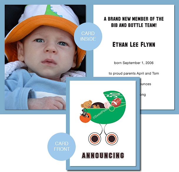 Black and Orange Football Photo Birth Announcements