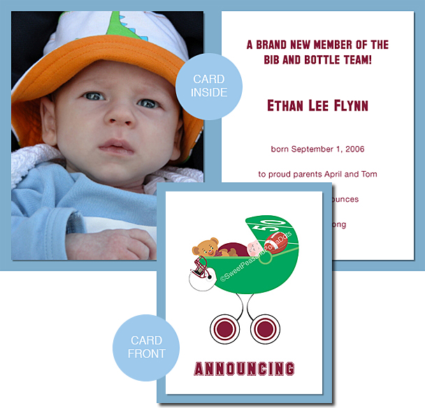 Maroon Red and White Football Photo Birth Announcements