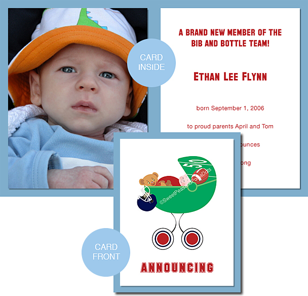 Red and Navy Blue Football Photo Birth Announcements