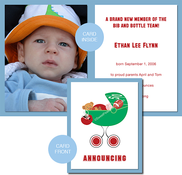 Red Football Photo Birth Announcements