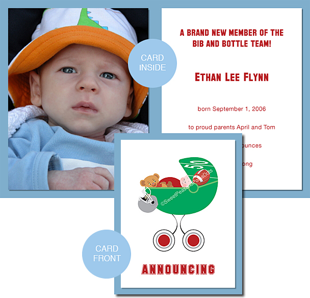 Red and Silver Football Photo Birth Announcements