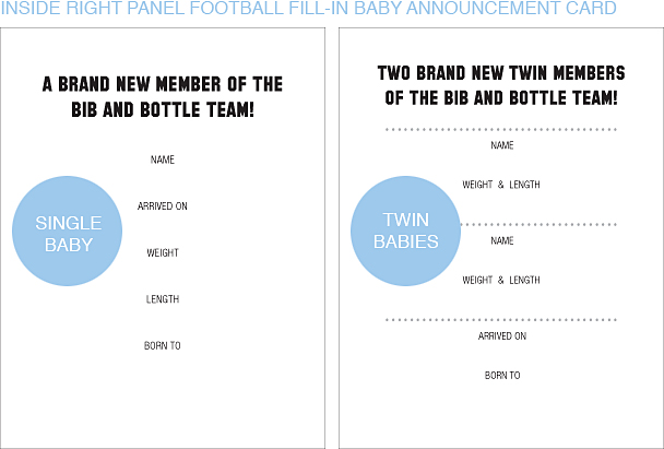 Inside Right Panel Black and Gold Football Classic Baby Announcements