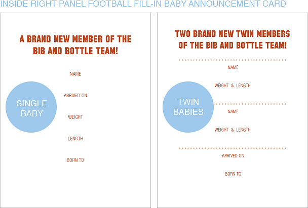 Inside Right Panel Dark Orange and White Football Classic Baby Announcements