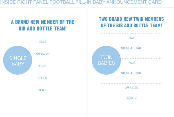 Inside Right Panel Light Blue and Gold Football Classic Baby Announcements