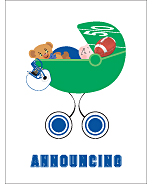 Blue and White Football Custom Birth Announcements