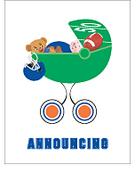 Blue and Orange Football Custom Birth Announcements
