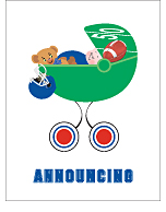 Blue and Red Football Custom Birth Announcements