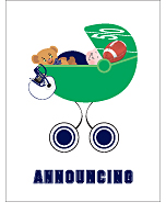 Navy Blue and White Football Custom Birth Announcements