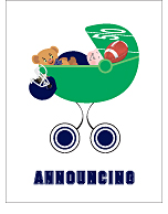 Navy Blue Football Custom Birth Announcements