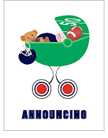 Navy Blue and Red Football Custom Birth Announcements