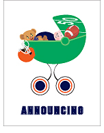 Navy Blue and Orange Football Custom Birth Announcements