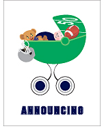 Navy Blue and Silver Football Custom Birth Announcements