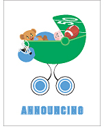 Light Blue Football Custom Birth Announcements