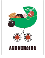 Black and Dark Red Football Custom Birth Announcements