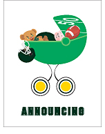 Dark Green and Yellow Football Custom Birth Announcements
