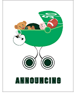 Dark Green and White Football Classic Birth Announcements