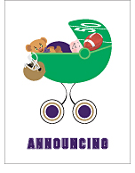Dark Purple and Gold Football Custom Birth Announcements