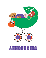 Purple and Orange Football Custom Birth Announcements
