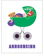 Purple and Black Football Custom Birth Announcements