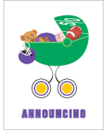 Purple and Gold Football Custom Birth Announcements