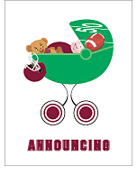 Maroon Red Football Photo Birth Announcements
