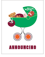 Maroon Red and Orange Football Photo Birth Announcements