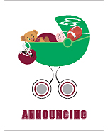 Maroon Red and Silver Football Photo Birth Announcements