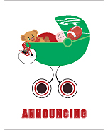 Red and Black Football Photo Birth Announcements